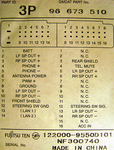 Chevrolet 3p 96 673 510 Head Unit Pinout Diagram