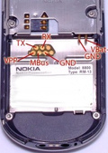 7 pin Nokia 8800 cell phone proprietary photo