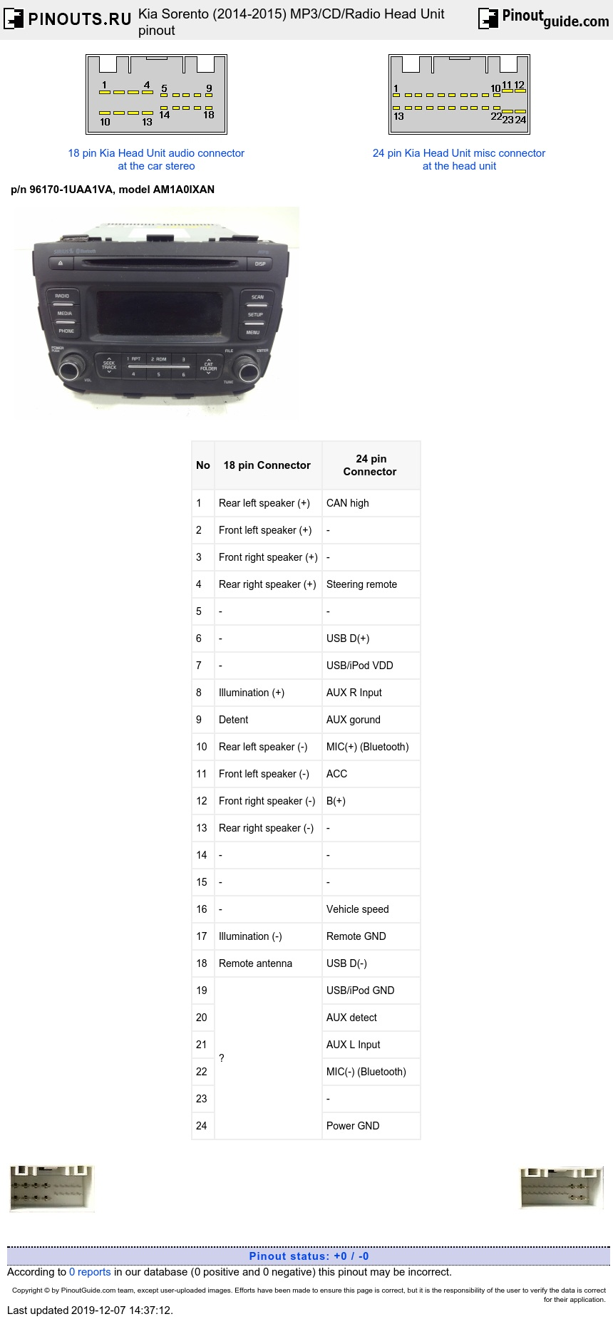 Kia Sorento (2014-2015) MP3/CD/Radio Head Unit diagram