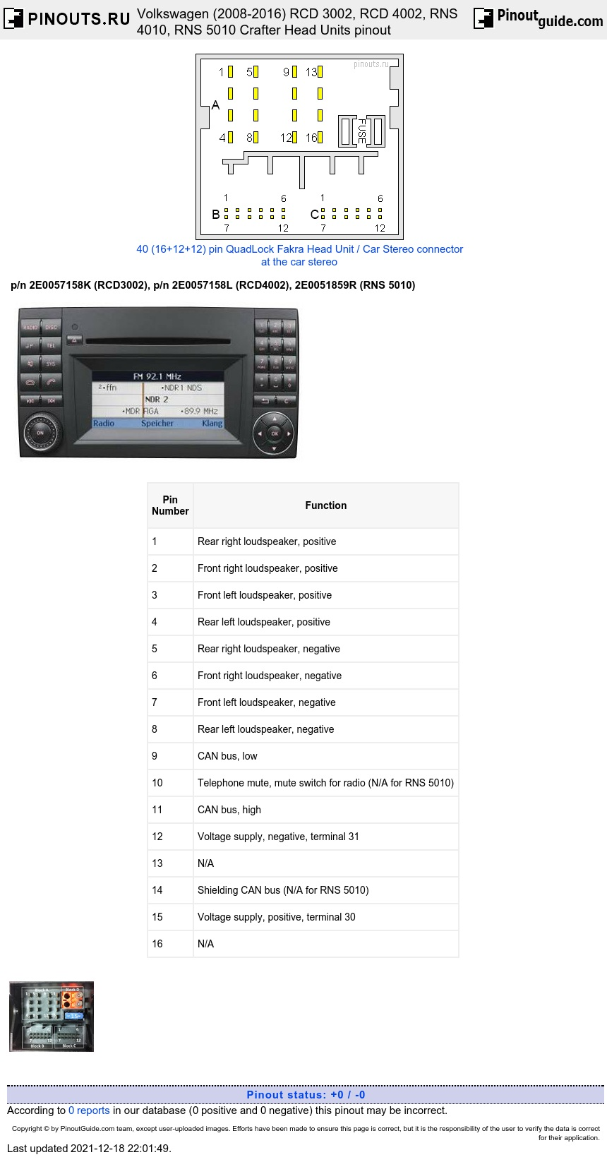 Volkswagen RCD 3002, RCD 4002, RNS 4010, RNS 5010 Crafter (2008-2016) Head Units diagram