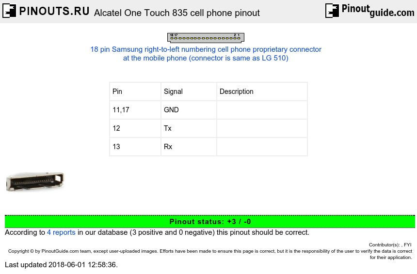 Alcatel One Touch 835 cell phone diagram