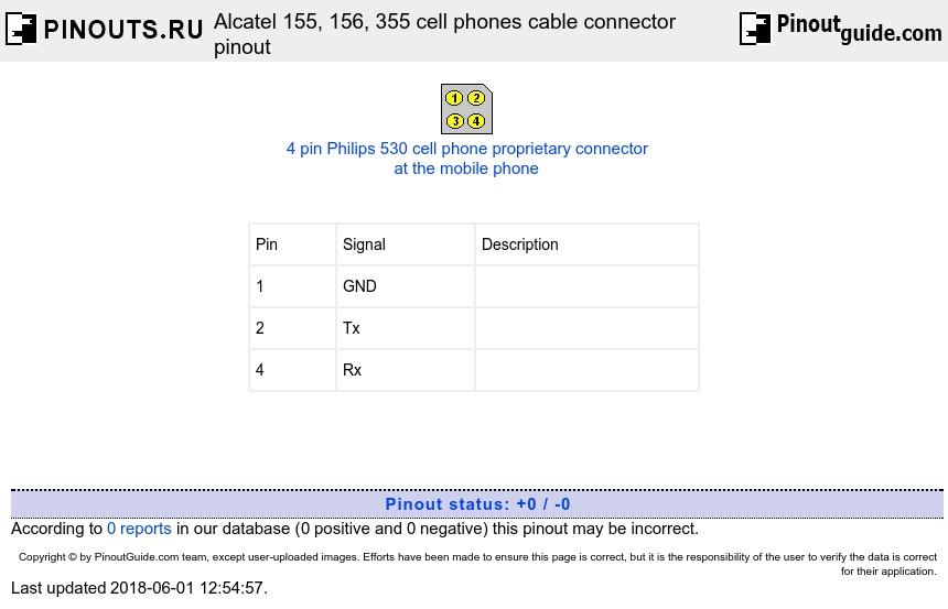 Alcatel 155, 156, 355 cell phones cable connector diagram