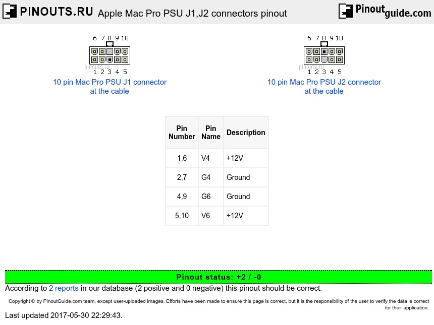 Apple Mac Pro PSU J1,J2 connectors diagram