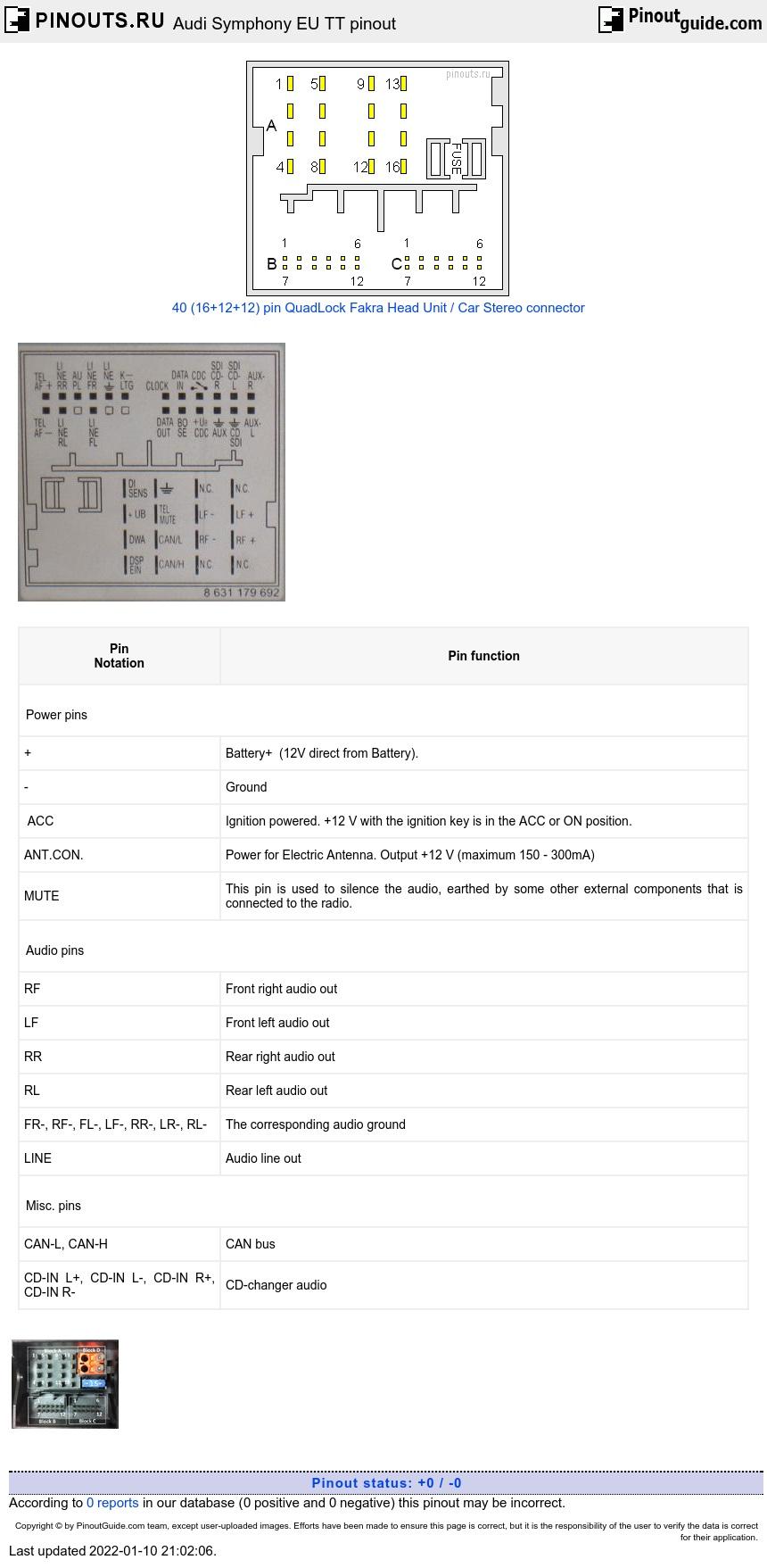Audi Symphony Eu Tt Pinout Diagram A6 Wiring