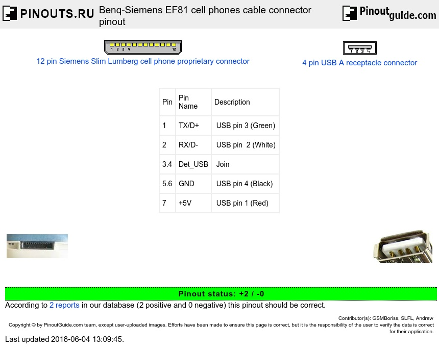 Benq-Siemens EF81 cell phones cable connector diagram