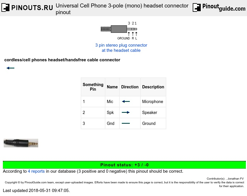 cellphone_headset universal cell phone 3 pole (mono) headset connector pinout  at soozxer.org