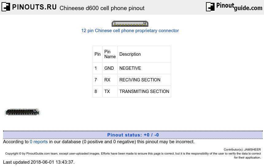Chineese d600 cell phone diagram
