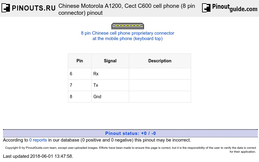 Chinese Motorola A1200, Cect C600 cell phone (8 pin connector) diagram