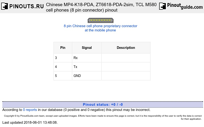 Chinese MP4-K18-PDA, ZT6618-PDA-2sim, TCL M580 cell phones (8 pin connector) diagram