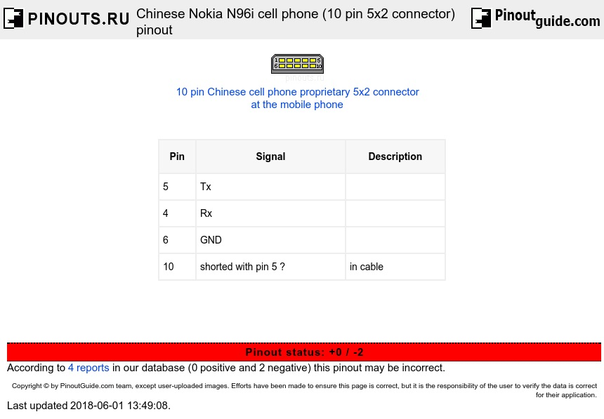 Chinese Nokia N96i cell phone (10 pin 5x2 connector) diagram