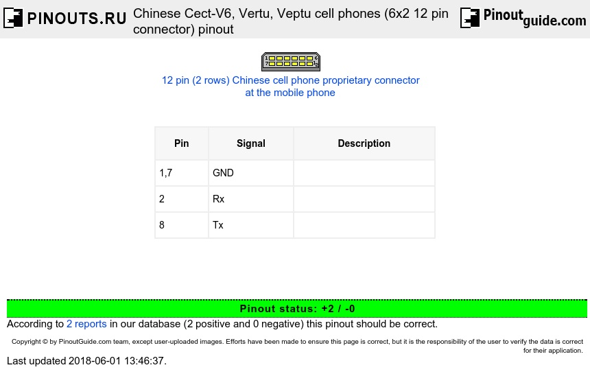 Chinese Cect-V6, Vertu, Veptu cell phones (6x2 12 pin connector) diagram