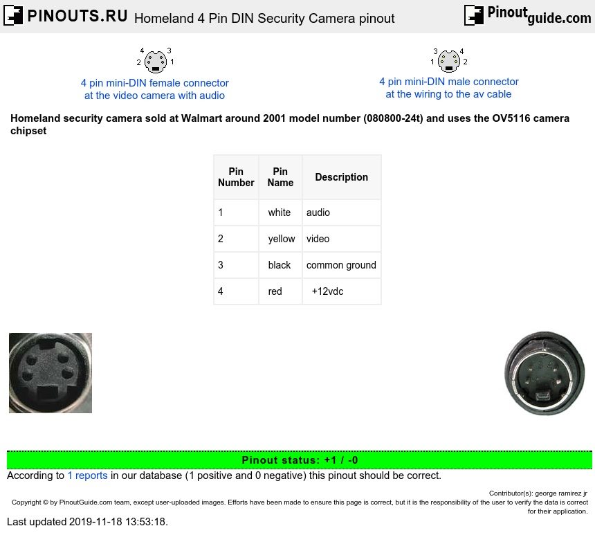din_camera_4p homeland 4 pin din security camera pinout diagram @ pinoutguide com