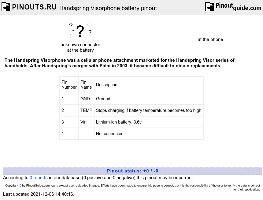 Handspring Visorphone battery diagram