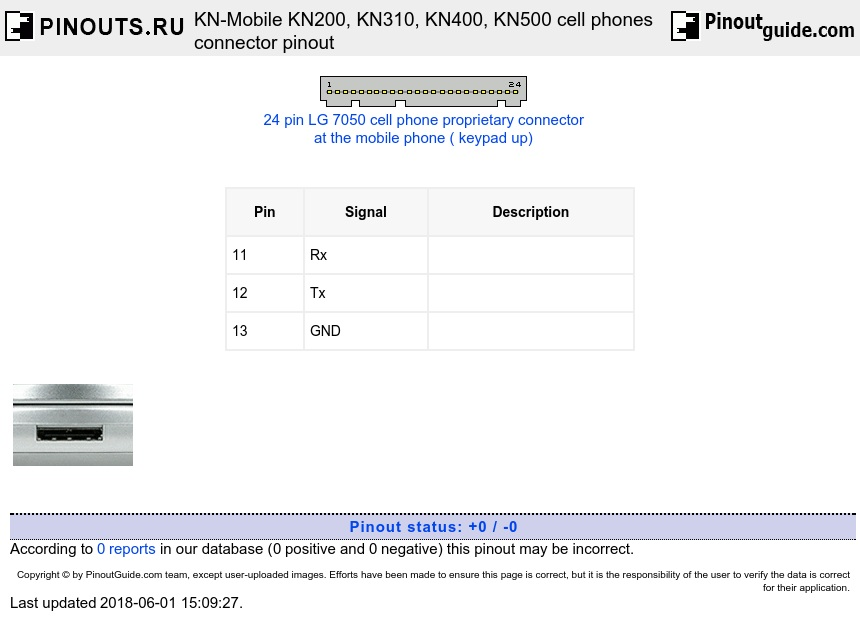 KN-Mobile KN200, KN310, KN400, KN500 cell phones connector diagram