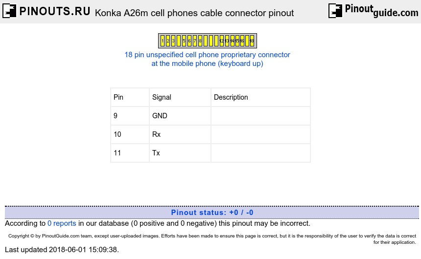 Konka A26m cell phones cable connector diagram