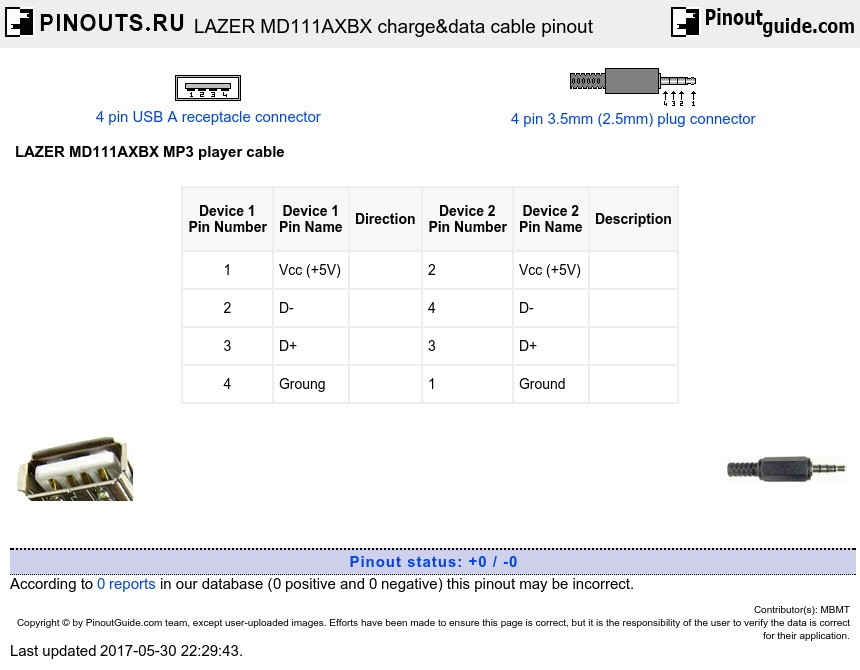 LAZER MD111AXBX charge&data cable diagram