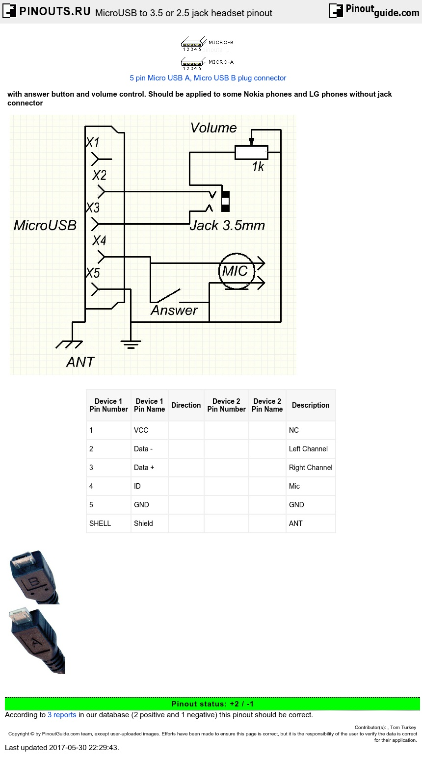 MicroUSB to 3.5 or 2.5 jack headset pinout diagram ...