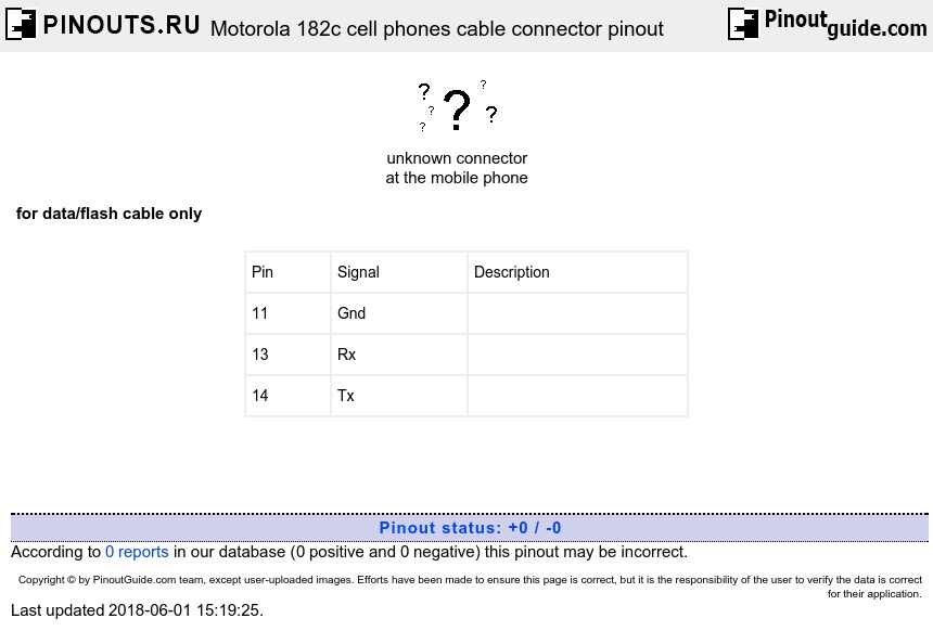 Motorola 182c cell phones cable connector diagram