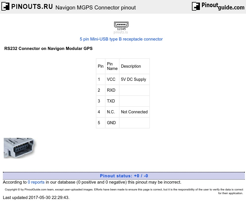 Navigon MGPS Connector diagram