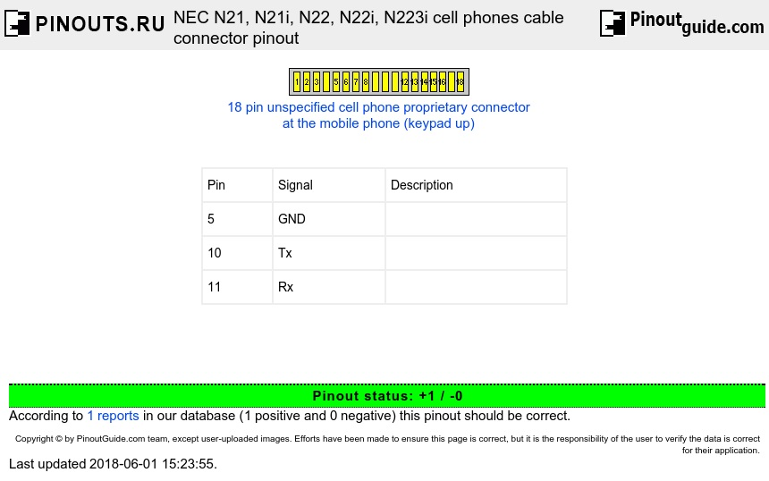 NEC N21, N21i, N22, N22i, N223i cell phones cable connector diagram