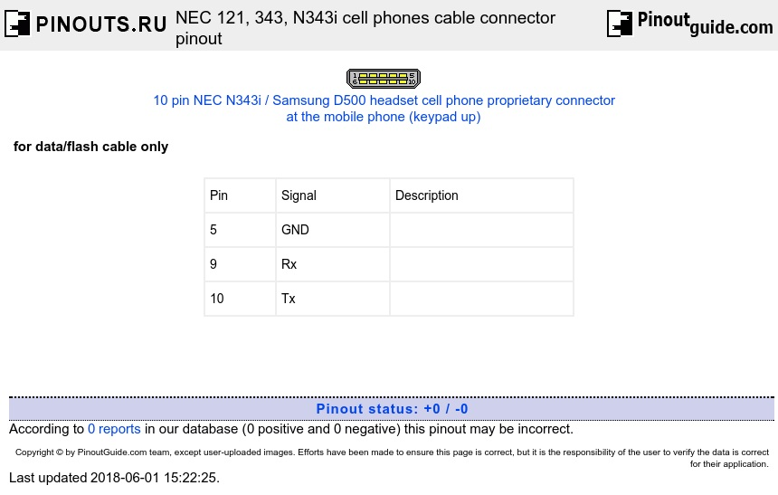 NEC 121, 343, N343i cell phones cable connector diagram