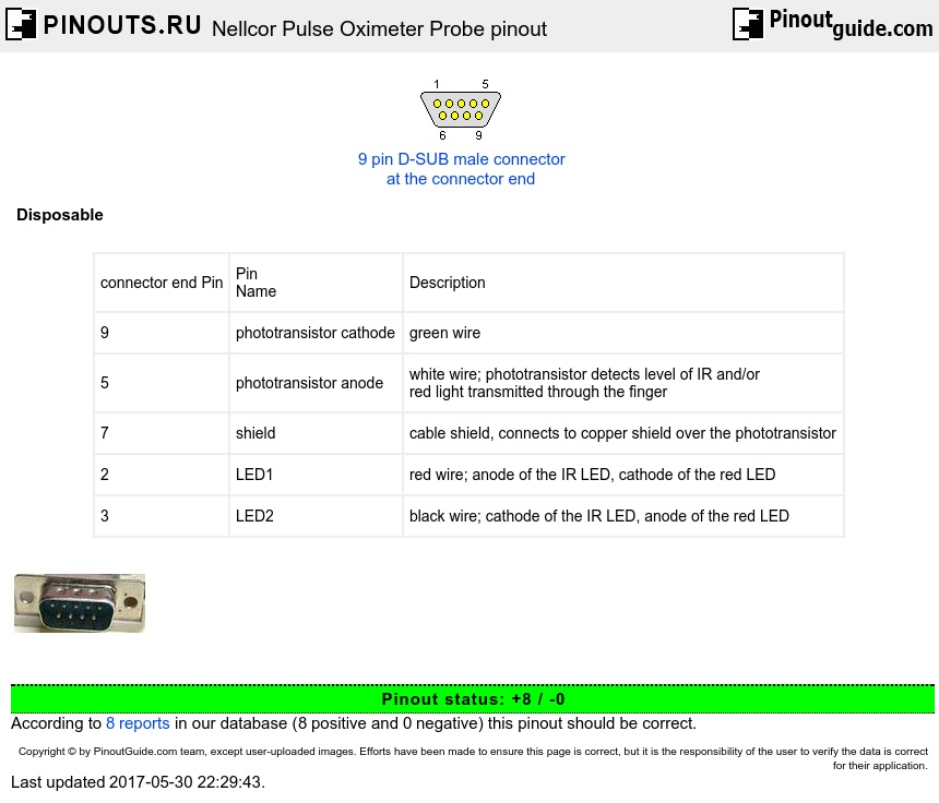 Nellcor Pulse Oximeter Probe Pinout Diagram   Pinouts Ru