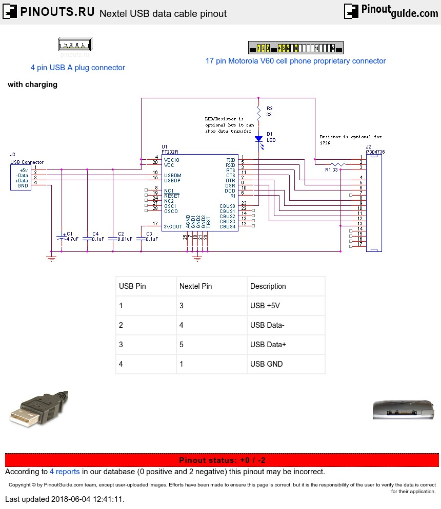 Nextel Usb Data Cable Pinout Diagram   Pinouts Ru