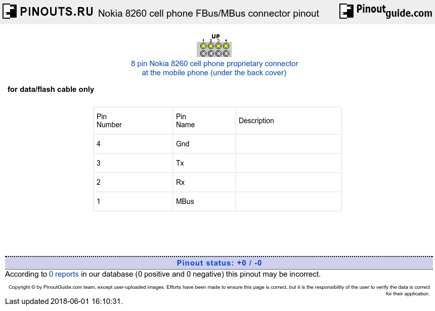 Nokia 8260 cell phone FBus/MBus connector diagram