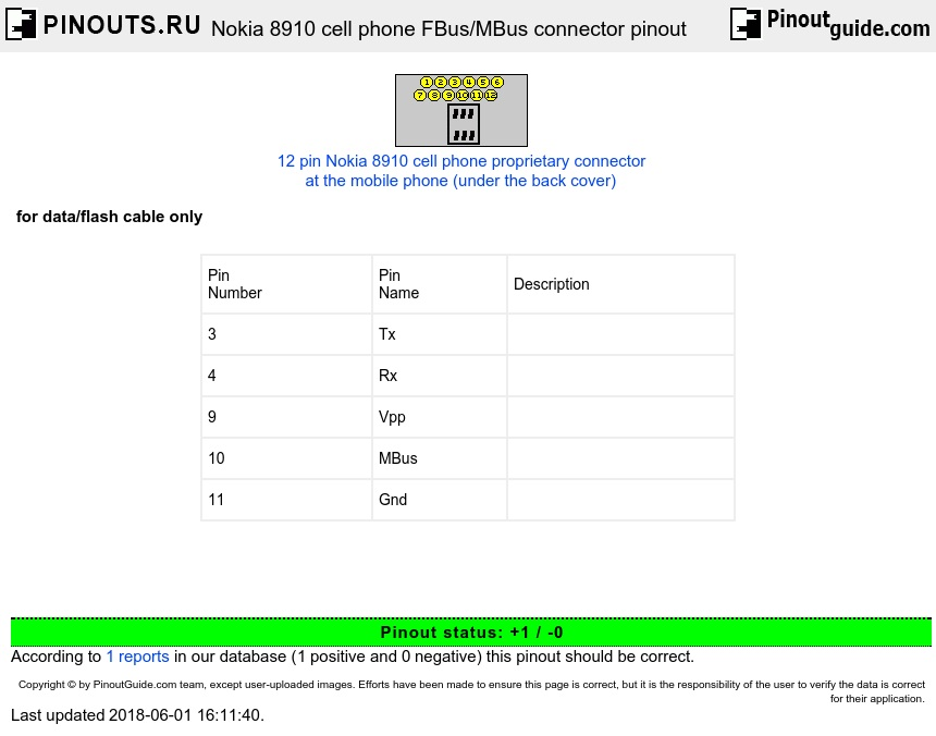 Nokia 8910 cell phone FBus/MBus connector diagram