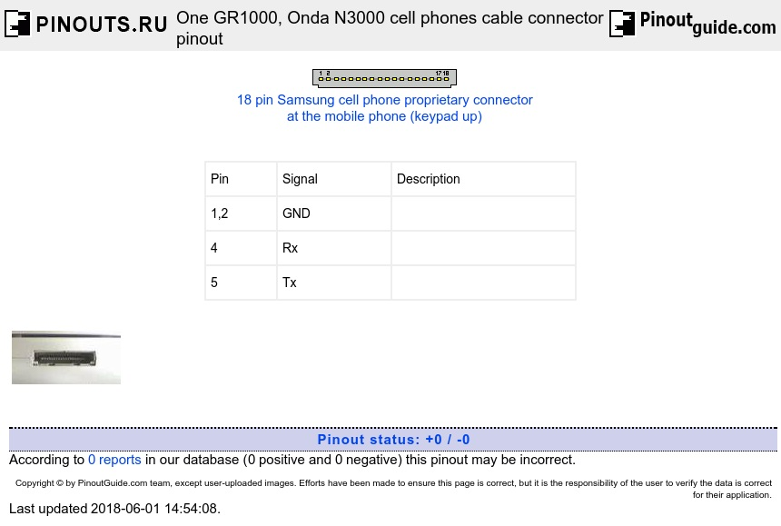 One GR1000, Onda N3000 cell phones cable connector diagram