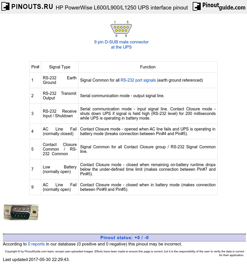 Hp Powerwise L600  L900  L1250 Ups Interface Pinout Diagram