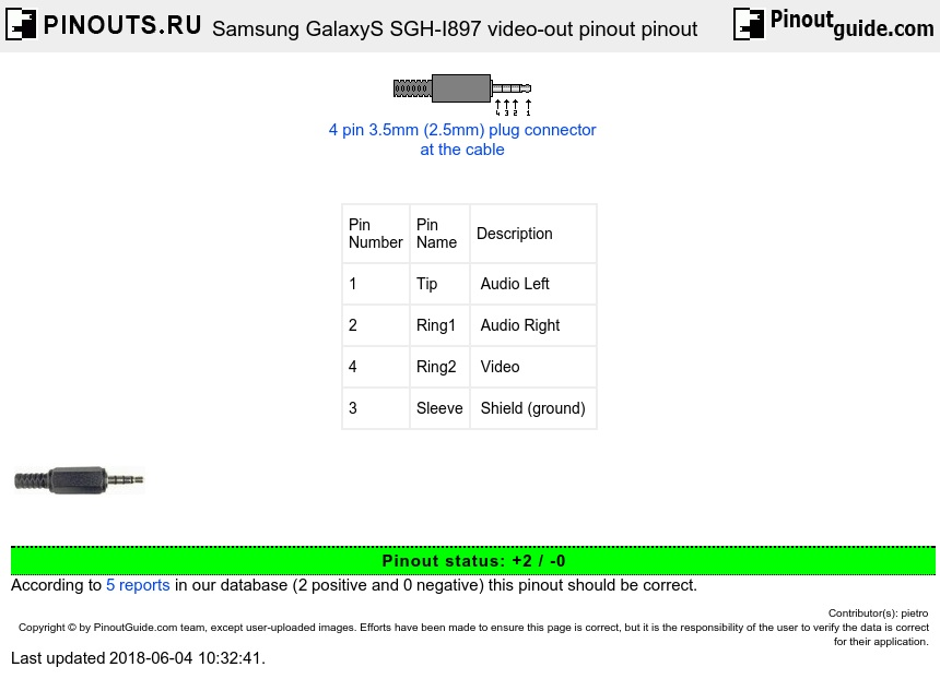 Samsung GalaxyS SGH-I897 video-out pinout diagram