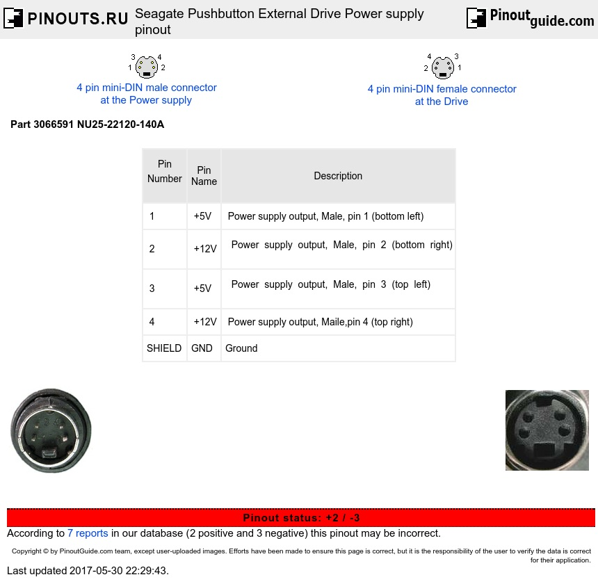 Seagate Pushbutton External Drive Power Supply Pinout
