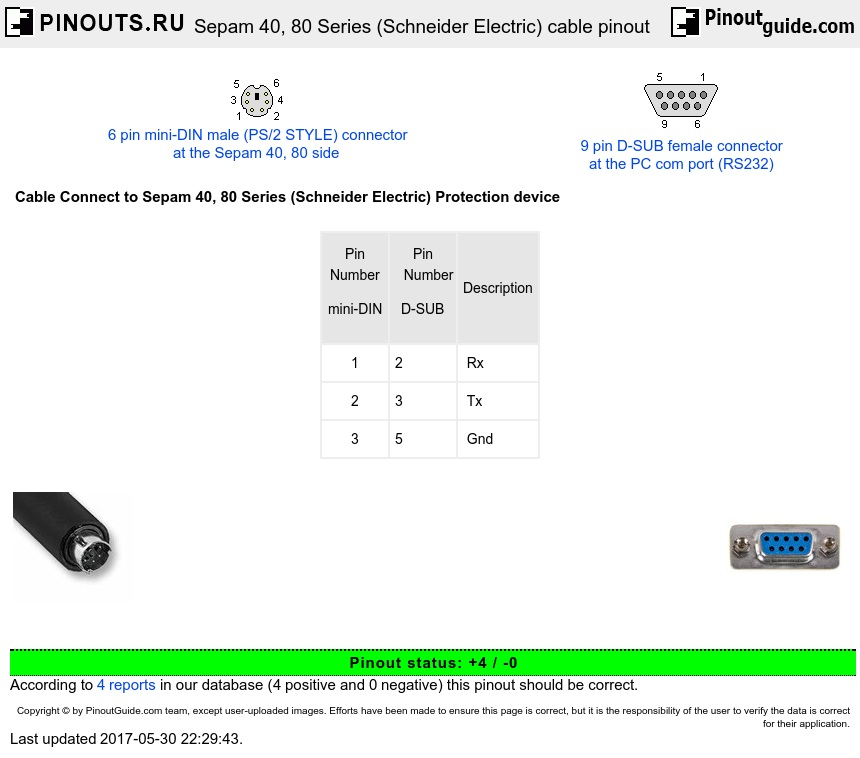 sepam 40  80 series  schneider electric  cable pinout