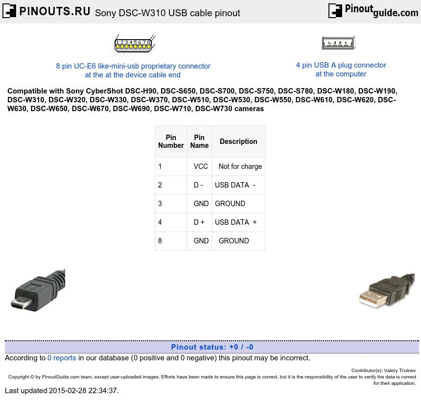 Sony Dsc W310 Usb Cable Pinout Diagram Pinoutguide