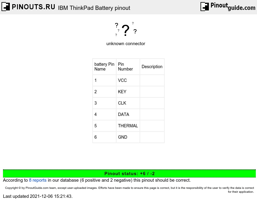IBM ThinkPad    Battery       pinout       diagram         pinouts   ru