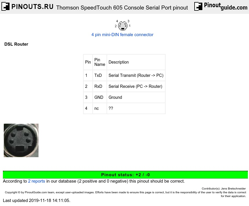 Thomson SpeedTouch 605 Console Serial Port diagram