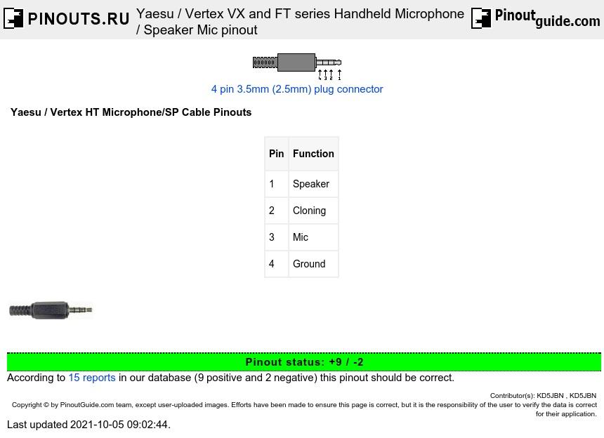 Yaesu    Vertex Vx And Ft Series Handheld Microphone