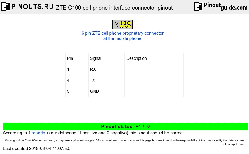 ZTE C100 cell phone interface  connector diagram
